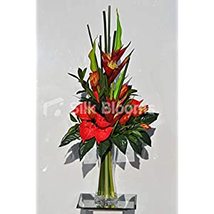 Silk Blooms Ltd Artificial Red Anthurium and Heliconia Vase Arrangement w/Green Goddess Lilies and Preserved Nectarine Protea Flowers 104