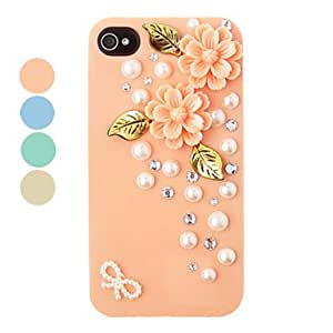 DIY Double Flowers Ornament Plastic Back Case for iPhone 4/4S(Assorted Color) --- COLOR:Yellow