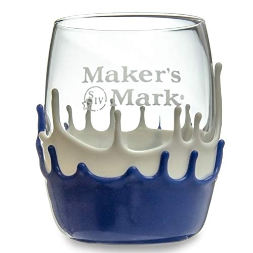 Makers Mark Blue and White Dipped Endessa Rocks Glass