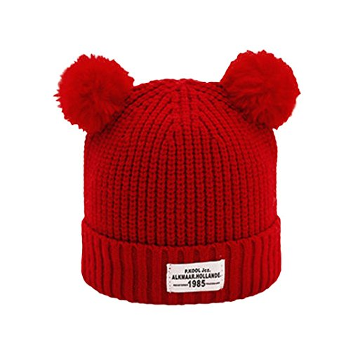 Vovotrade Adorable Cute Baby Hats Children Ball Cap Letter Warm Winter Hats Knitted Wool Hemming (Red)