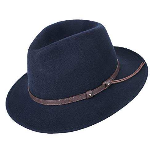 (Deevoov Men's 100% Wool Felt Fedora Outback Trilby Hat Derby Hat Short Brim Cap with Leather Belt, Navy, L-60cm(7 1/2-23.62