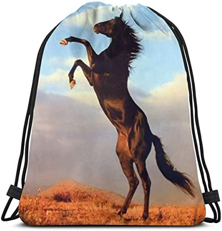 野生のブラックスタリオン馬飼育巾着バックパックユニセックスジムバッグ用36 x 43cm