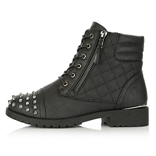 DailyShoes Women's Military Lace up Buckle Combat Boots Ankle High Exclusive Credit Card Pocket Frontal Metal Stud Hiking Booties, Black PU, 11 B(M) US by DailyShoes (Image #6)
