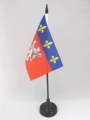 AZ FLAG Bandera de Mesa de la Provincia DE Lyonnais 15x10cm - BANDERINA de DESPACHO DE Lyon - Lion 10 x 15 cm