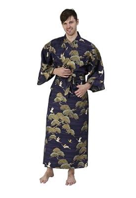 Beautiful Robes Men's Pines & Cranes Cotton Kimono Long