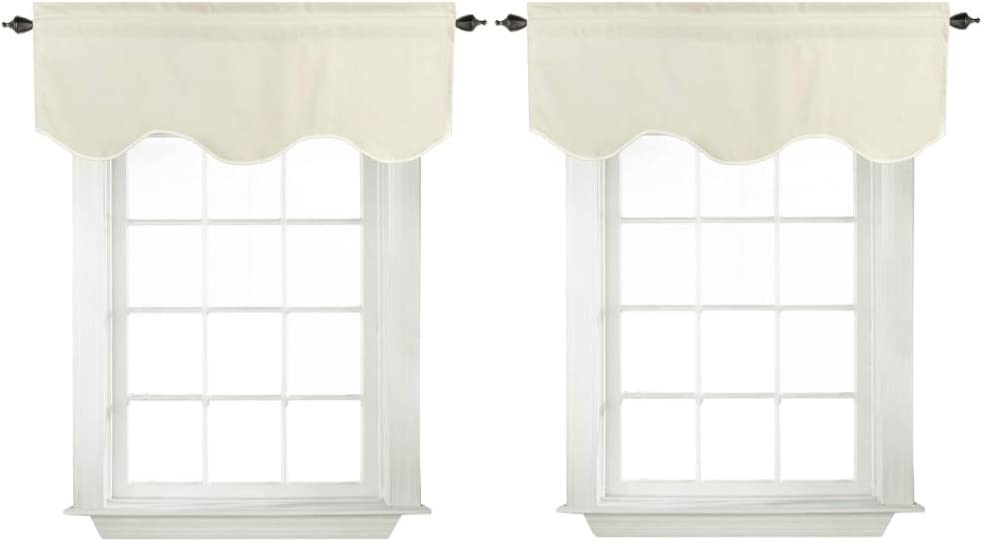 """Turquoize Blackout Thermal Curtain Valances for Kitchen Scalloped Window Treatment for Living Room(52"""" x 18"""" inches, Beige/Ivory, 2-Packs)"""