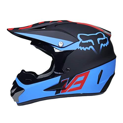 Adult Helmet Man Woman Motorbike Full Face Motorcycle Road Race ATV Crash Helmet Off-Road Motorbike Karting Motocross Helmets Included Mask Gloves Goggles,L ()