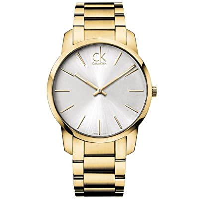 Calvin Klein Men's Gold Stainless Steel Silver Dial City Watch K2G21546