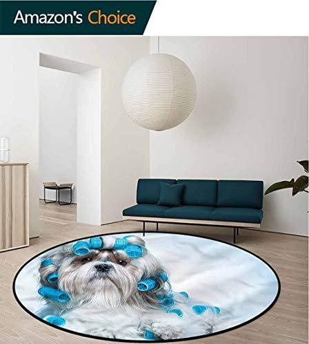 RUGSMAT Dog Lover Modern Washable Round Bath Mat,Shih Tzu Dog Grooming Indoor/Outdoor Round Area Rug Round-71 ()