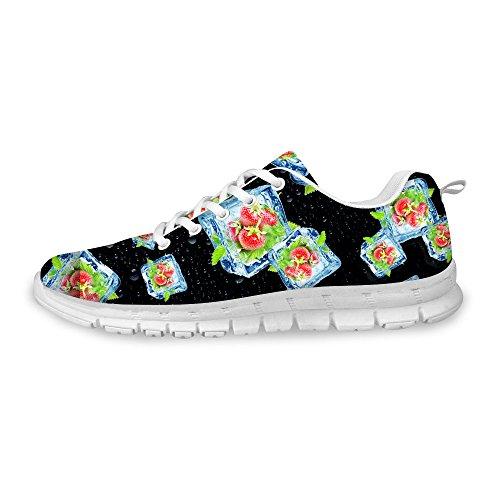 For U Designs Zapatillas De Deporte De Moda Para Mujer Con Cordones, Transpirables, Resistentes, Para Correr, Negras 3