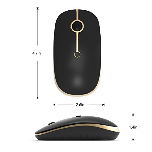 2.4GHz Wireless Bluetooth Mouse, Jelly Comb Dual Mode Slim Wireless Mouse with 2400 DPI for PC, Laptop, Mac, Android, Windows - Black and Gold by Jelly Comb (Image #9)