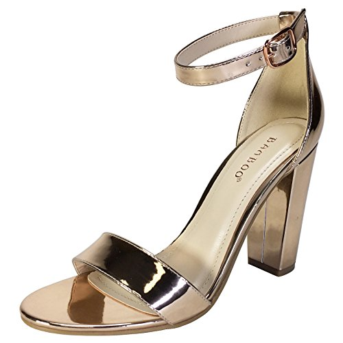 Single Sandal Gold Heel Patent Chunky Band Pu Rose Strap With Women's Bamboo Ankle Xvq566