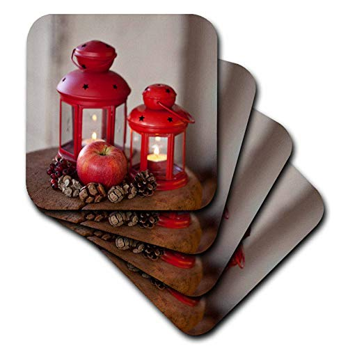 (3dRose Andrea Haase Christmas Photography - Winterly Still Life Photography With Red Lanterns And Apple - set of 4 Ceramic Tile Coasters (cst_318588_3))