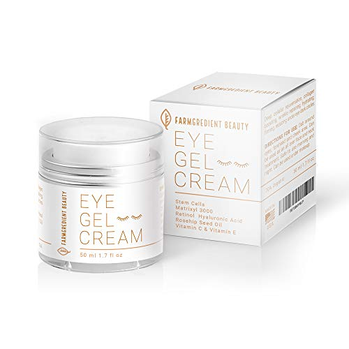 Anti-Aging Under & Around Eye Gel Cream for Men & Women with Rosehip Seed Oil, Vitamin C, E, Peptides, Stem Cell & Hyaluronic Acid | Depuffing Eye Firming Retinol & Collagen Eye Cream - 1.7 fl. Oz - Amazon Vine