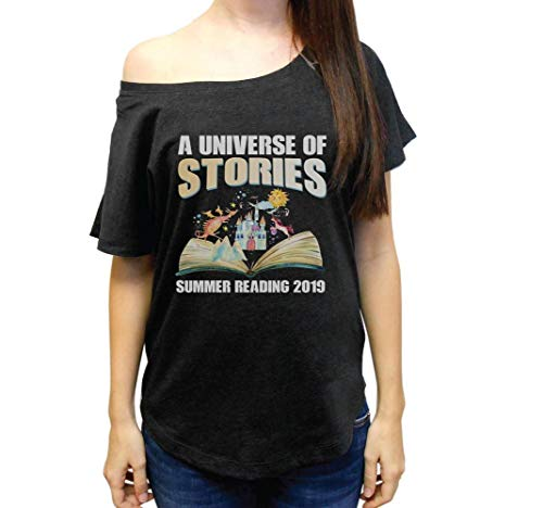 A Universe of Stories Summer Reading 2019 Tshirt Librarian Gift Wide Neck Women's Tri-Blend Dolman Tshirt ()