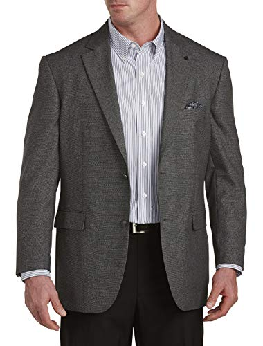 Oak Hill by DXL Big and Tall Jacket Relaxer Birdseye Sport Coat, Charcoal, 2XLT