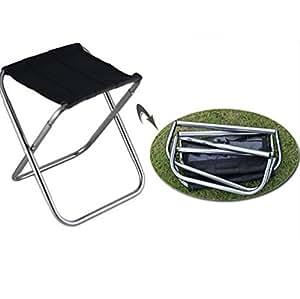 Portátil plegable taburete asiento taburete con capacidad para hasta 100kg de aleación de aluminio para camping pesca Picnic barbacoa senderismo Garden Beach, plata