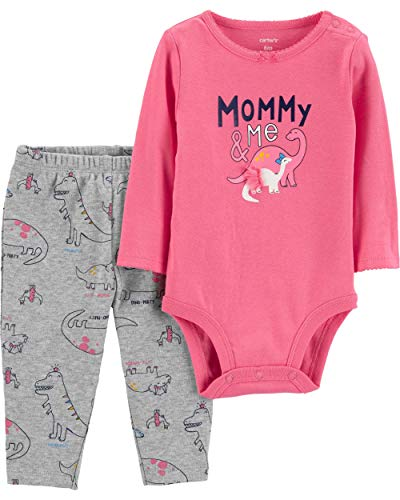Carter's Baby Girls' 2 Piece Bodysuit and Pants Set (Pink/Mommy and Me, 6 Months)