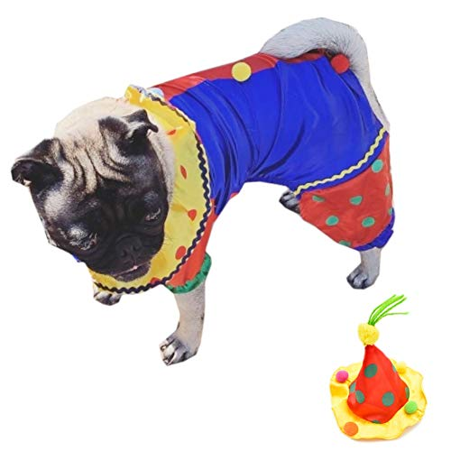 Clown Costume For Dogs (Youbedo Dog Clown Costume Halloween Clown Pet Costume for Small Dogs and Cats Super Funny Clown Style Clothes Cosplay)