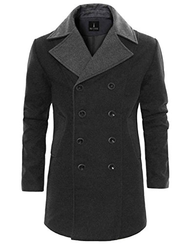 Tom's Ware Men's Trendy Double Breasted Trench Coat TWCC12-CHARCOAL-US M by Tom's Ware