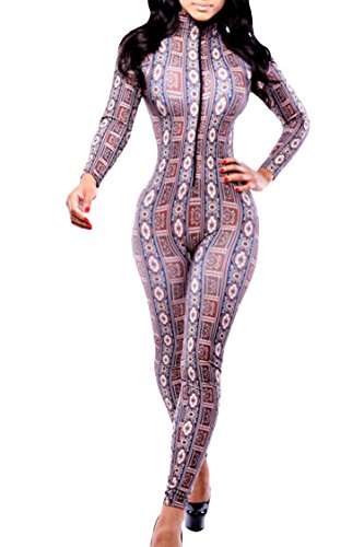 Pink Queen®Ladies Bandage Bodycon Tropical Printed Jumpsuit Rompers Clubwear (Pink Catsuit)
