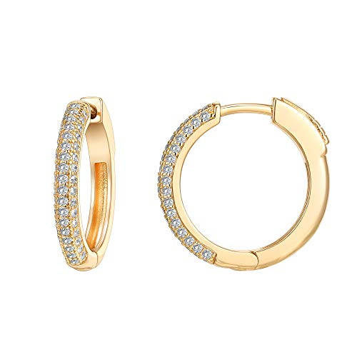 PAVOI 14K Gold Plated 925 Sterling Silver Cubic Zirconia Hoop Earrings | Yellow Gold Hoops