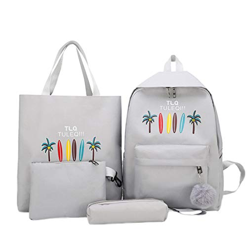 heavKin 4Pcs Women Student Boys Girls Fashion Popular Candy Color Letter Print Backpack School Bags Clutch Pencil Case Combination Sub-Package (Gray, 29X12X40cm)