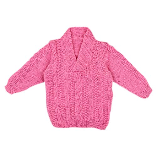 - Magic Needles Handmade Knit Baby Infant Newborn Winter Woolen Full Sleeves Sleeveless Sweater Pullover Cardigan (Pink 1055, 3-6 Mths)