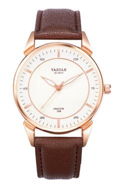 Movement Brown Dial (YAZOLE 398 Mens Waterproof/ Backlight\ Quartz Business Wrist Watch (White Dial—Brown Band))
