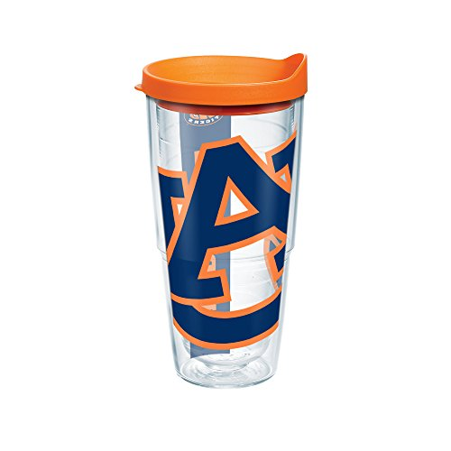 Auburn Tigers Cups - Tervis 1093381 Auburn Tigers Colossal Tumbler with Wrap and Orange Lid 24oz, Clear