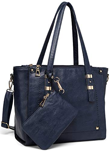 Tote Bag for Women,VASCHY Faux Leather Top Handle Triple Compartment Satchel Work Handbag Purse for Ladies with Little Pouch Blue
