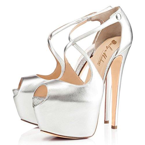 Damen Open Toe Plateau Stiletto High Heel Pumps Schluepfen Knoechel Cross Strap Buckle Party Schuhe Silber