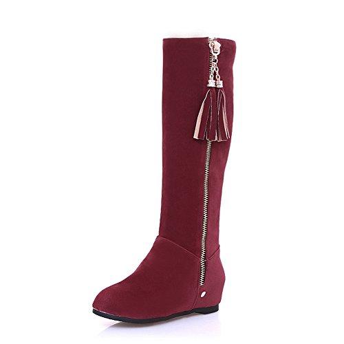 Suede Claret SXC02004 AdeeSu Comfort Casual Tassels Womens Boots w0SITAq