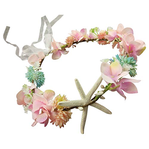 Hixixi Handmade Beach Wedding Bridal Starfish Headband Flower Mermaid Garland(Pink) -