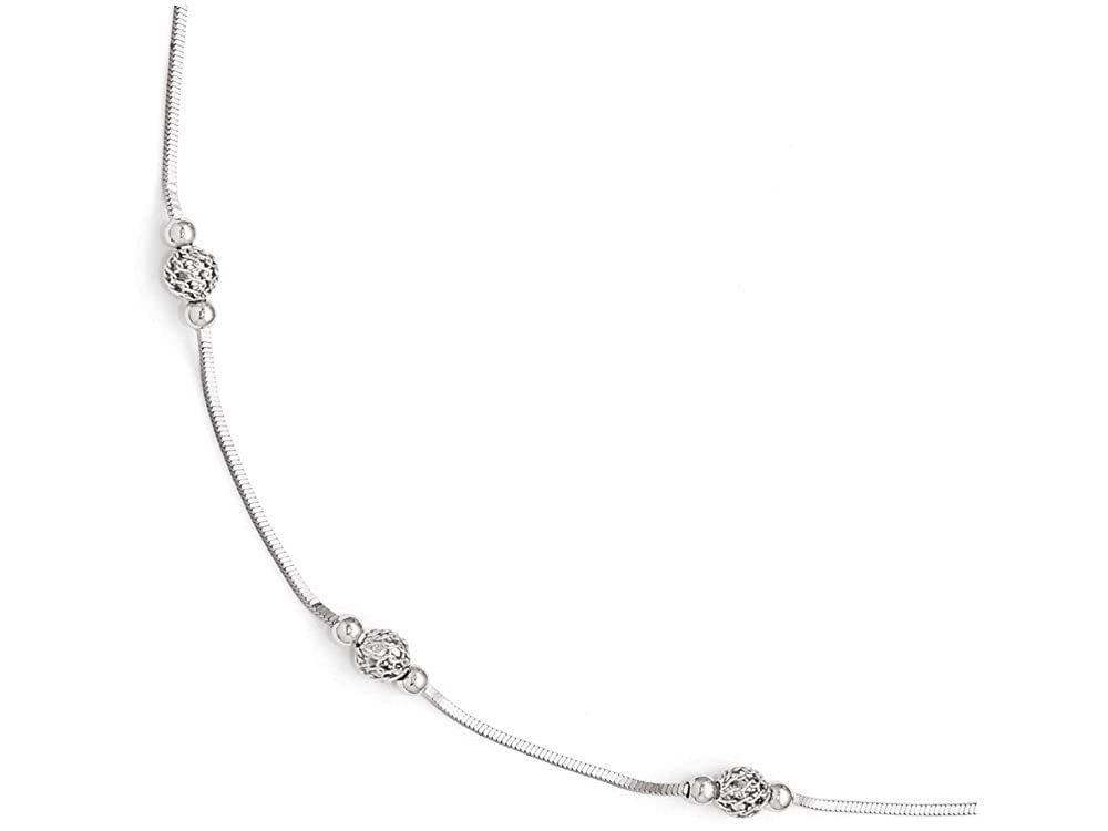 Finejewelers Sterling Silver Polished and Textured Beaded Anklet W//1in Ext