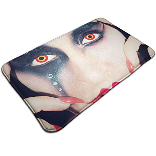 DIDIDI Cool Halloween Red Lips Black Eye Shadow Orange Pupil Girl Throw Area Ground Mat Accent Floor Carpet Outside Door Set Decor Welcome Entryway Rug Sign Celebrate Decorations Ornament