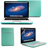 GMYLE MacBook Pro 13 Case, 4 in 1 Bundle Turquoise Blue Matte Frosted Hard Case - Soft Sleeve Bag - Silicon Keyboard Cover - Screen Protector (Model: A1278)