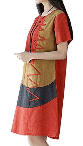 P Ammy Fashion - Vestido - trapecio - para mujer naranja
