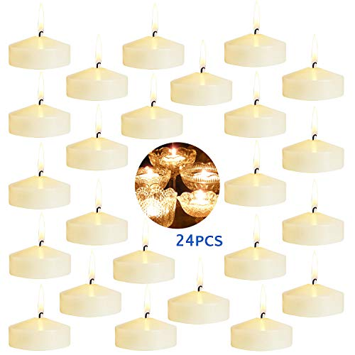 - YCYH Floating Candles for Centerpieces - Bulk Pack of 24 Ivory Unscented Long Burning (8 hrs) - 3 inch Diameter - for Weddings, Christmas Holiday Dinners, Home Decor and Special Occasions