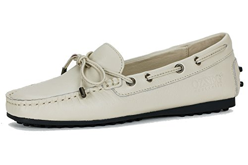 OZZEG Womens Flat Shoes Genuine Leather Soft Moccasins Loafer Shoes White irbSv5R40