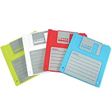 """PHT Silicone Blanked Label Retro 3.5 Inches Floppy Disk All-weather Coasters , 4.7 X 3.6"""", Set of 4"""