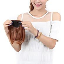 """S-noilite 8""""(20cm) Front Neat Light Auburn Bangs Clip in Hair Extensions One Piece Striaght Fringe Hairpiece"""