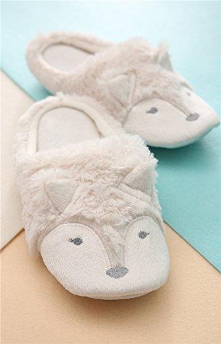 Pantorrilla De Interior Abcmall Mujeres Fox Plush Soft Sole Blanco