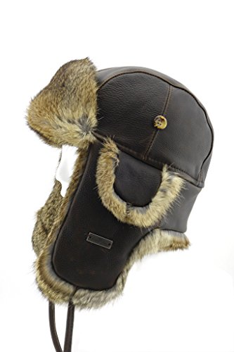 FUR WINTER Vintage Bull Leather Rabbit Fur Aviator Bomber Trapper Hat BRN XL