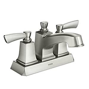 Moen ws84922srn two handle low arc bathroom faucet spot resist brushed nickel Amazon bathroom faucets moen
