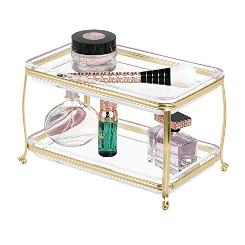 mDesign Decorative Makeup Storage Organizer Vanity Tray for Bathroom Counter Tops, 2 Levels to Hold Makeup Brushes, Eyeshadow Palettes, Lipstick, Perfume and Jewelry - Soft Brass/Clear (Tray Tier Perfume 2 Vanity)