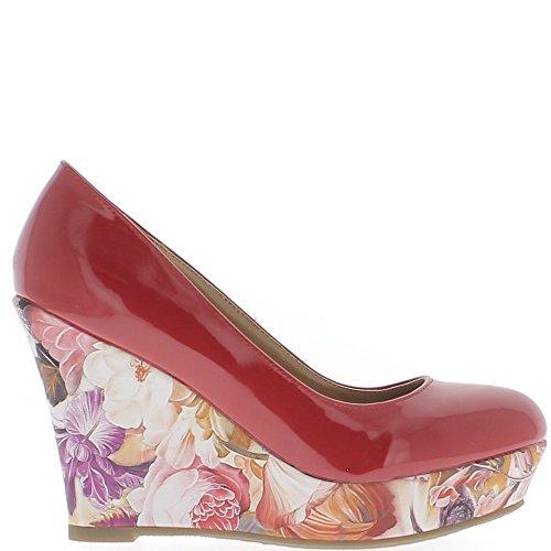 Escarpins compensés femme rouges vernis à talons de 10,5cm et plateforme fleurie