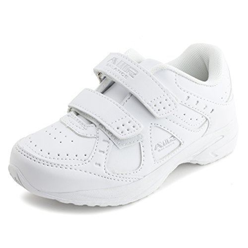 Air Balance Unisex Solid Color Velcro Closure Walking Shoes Sneakers, White, 12 M US Little Kid (Little Girl Walking)