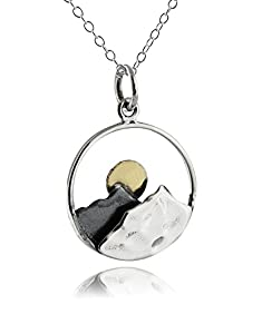 Sterling Silver Mountain Range Peaks with Bronze Sun Pendant Necklace, 18