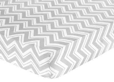 Fitted Crib Sheet for Yellow and Gray Zig Zag Baby/Toddler Bedding by Sweet Jojo Designs – Zig Zag Print, Baby & Kids Zone